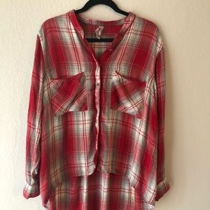 Melissa McCarthy Seven high low plaid shirt 2/$20